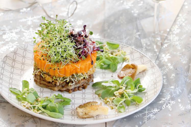 Parmentier vegan à la patate douce, champignons aux truffes et graines germées