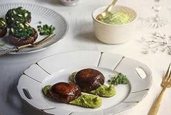 Champignons fourrés au pesto d'épinards et sa purée de brocolis